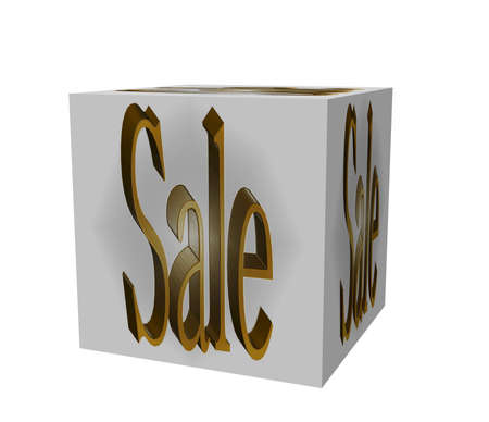 Golden extruded text on a white background on the cube sale