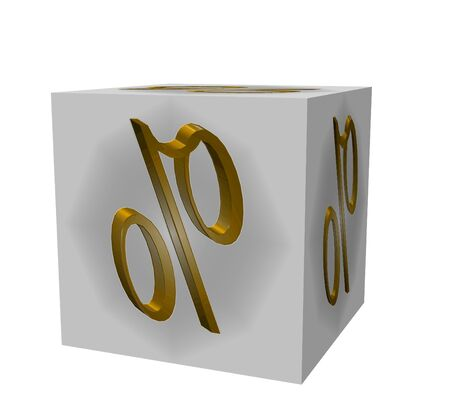 Golden extruded text on a white background on the cube interest