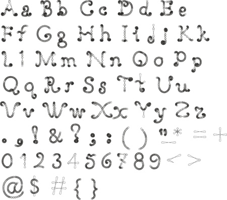 Original font, alphabet on a white background for the design and execution