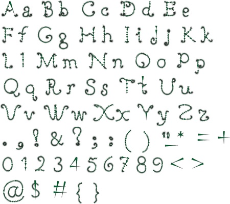 italics: The alphabet in calligraphy brush