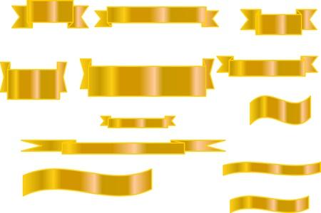 Set of golden vector ribbons Stock Vector - 17156012