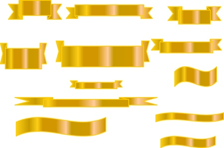 Set of golden vector ribbons Stock Vector - 17156012