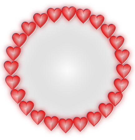 frame with hearts on a white background with Valentine Stock Photo - 17155996