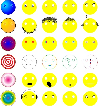 emoticons with various facial expressions Illustration
