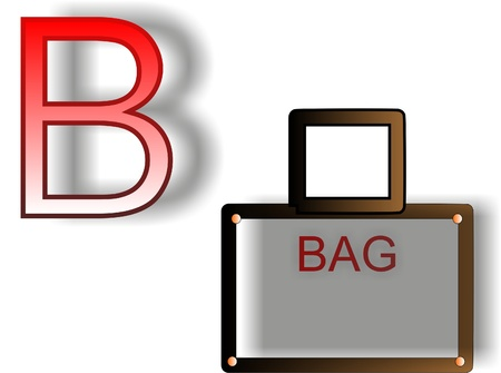 Letter B bag on a white background for teaching children the alphabet