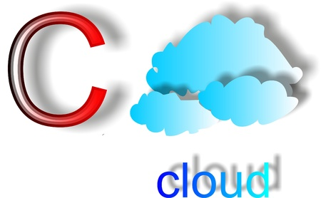The letter C on a white cloud background to teach children the alphabet Illustration