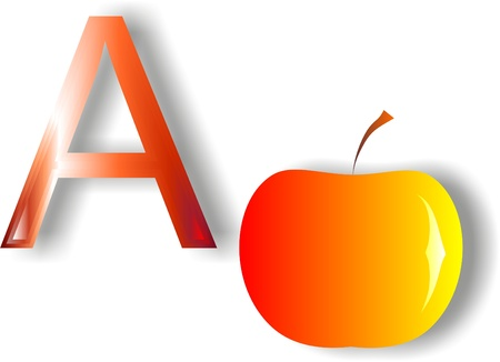 Letter A  apple on a white background for teaching children the alphabet