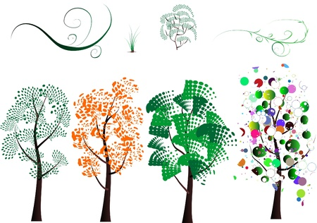 A variety of stylized trees on a white background for design Vector