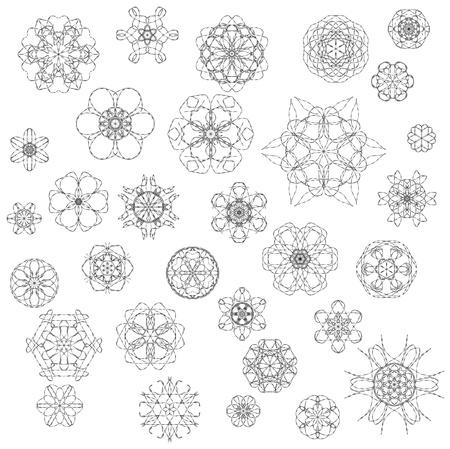 Beautiful ornamental rosettes set  For ethnic or tattoo design