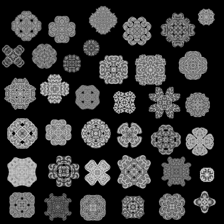Elements of ornament for design in retro style black on background Stock Photo