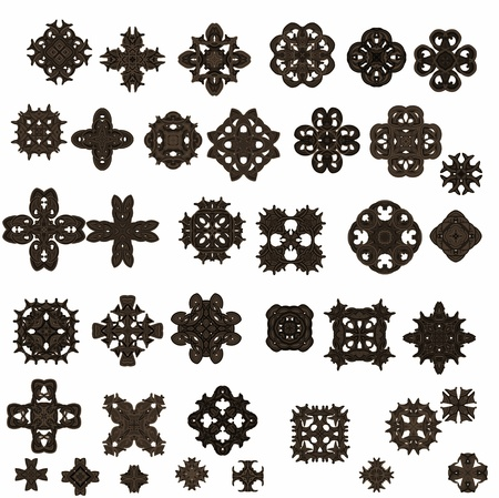 Elements of ornament for design in retro style black on white background Stock Photo
