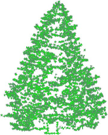 Christmas fir green painted on a white background