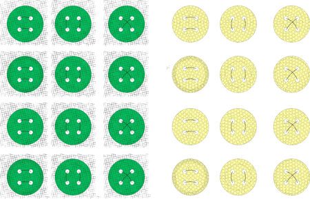 Buttons for scrapbooking on a white background