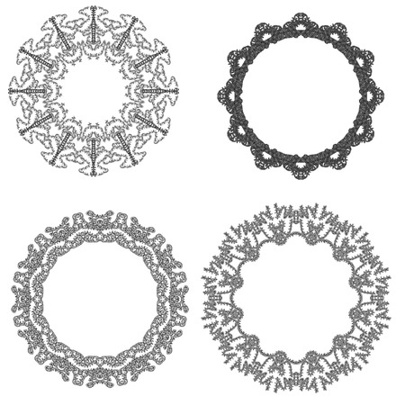 four  round frames for paintings and photographs for scrapbooking design on a white background Stock Photo