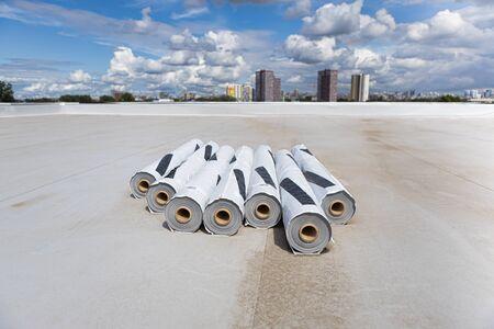 Roofing PVC membrane in rolls. Industrial roof. Foto de archivo