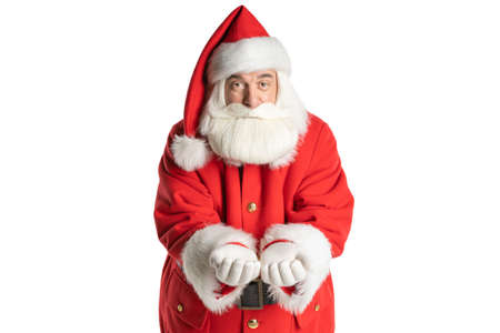 Portrait of an attractive Santa Claus in presentation hands to insert a banner or object. Isolated white background.