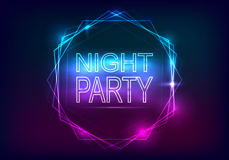 Night Party advertisement template. Neon style with rays of light and a frame of neon Vector illustration.