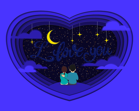 Paper cut A pair of lovers sits on the grass and stars at the sky at the stars. style - clipping. concept of love. i love you postcard, poster, banner. Vector illustration. Illustration