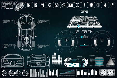 Futuristic user interface. Car service in the style of HUD. Virtual graphical interface Ui HUD Autoscanning, car analysis and diagnostics, Abstract vector science. Car auto service infographics.repair