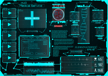 HUD for the medical application, a futuristic medical interface HUD, a virtual graphic touch interface with illustrations of human scanning and the update of his illnesses Ilustração