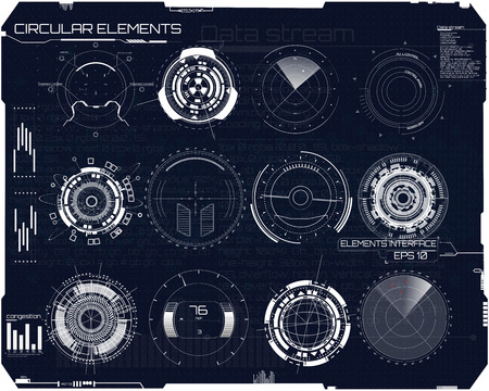 set of elements in the style of HUD. Radar, instruments, panels, sights. Futuristic user interface. The UI template for the application and virtual reality. Illustration