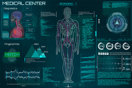 Head Up Display (HUD) UI for Medical App, Futuristic Medical HUD Interface, virtual graphic touch UI with illustration of Brain Scan, Heart Scan, DNA, Human Body, Molecule and Electrocardiogram.Sci-fi