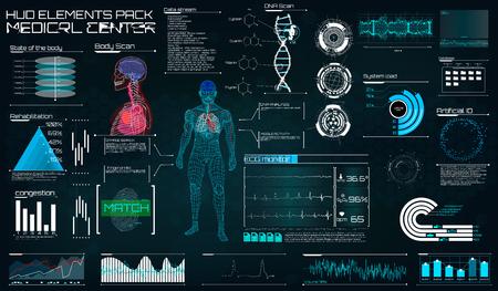 Modern medical examination in the style of HUD. Ultrasound and cardiogram. A futuristic medical interface, a virtual body scanning interface with heart, human body and electrocardiogram illustrations.