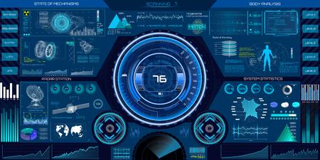 Abstrakte HUD-Elemente für das UI UX-Design. Futuristische Sci-Fi-Benutzeroberfläche für App. Raum, Dashboard, Hologramm, Raumschiff, Medizin, Finanzen, Analytik, virtuelle grafische Touch-Benutzeroberfläche im HUD-Stil.