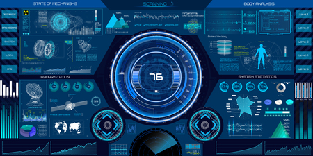 Abstract HUD elements for UI UX design. Futuristic sci-fi user interface for app. Space, dashboard, hologram, spaceship, medicine, finance, analytics, virtual graphic touch user interface in HUD style.