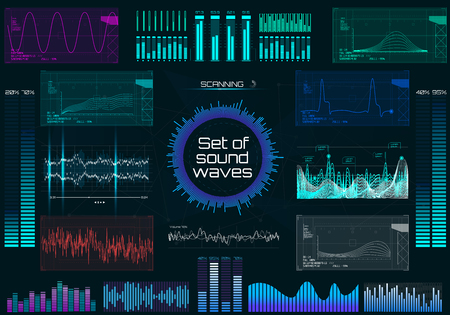Set of sound waves, futuristic style. Audio Player. Music colorful elements for your design. Audio equalizer technology, pulse musical in HUD UI style. Vector illustration. Set elements.