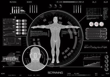 Modern medical examination, style HUD and Concept of face scanning (accurate facial recognition biometric technology) A futuristic medical infographics, body scan and electrocardiogram in HUD style Illustration