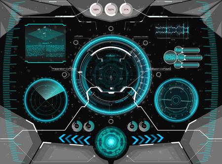 Interfaz gráfica de usuario de concepto futurista para casco. Plantilla de visualización frontal en estilo HUD. Diseño de pantalla de visualización frontal de realidad virtual futurista. Vista desde el casco con elementos HUD.