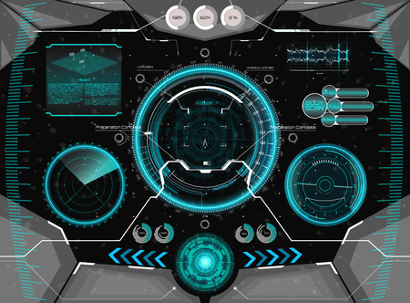 Futuristic concept GUI for helmet. Head-up display template in HUD style. Futuristic VR Head-up Display Design. View from the helmet with HUD elements. Illustration