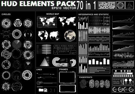 Establezca elementos de interfaz en blanco y negro de hud, círculos, estadísticas e infografías, mapas del mundo, marcos, huellas dactilares ui para aplicaciones web. Conjunto de interfaz de usuario moderno de ciencia ficción futurista. HUD abstracto Ilustración de vector