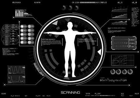 Medical infographic HUD UI. Concept of Body scanning. Medical Infographic set with charts and other elements. Technology elements modern interface HUD UI. Hi Tech, Diagnostic - Body Scan. vector