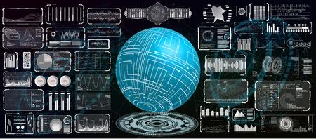 Futuristisches Interface-Hud-Design für Business-App. Abstrakte Technologie, Konzept futuristische Sci-Fi-Benutzeroberfläche für App, Hologramm, Kommunikation, Statistik, Daten, Infografik. Hi-Tech-Technologie HUD UI