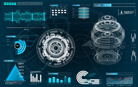 HUD UI for app. Futuristic user interface HUD and Infographic elements. Abstract virtual graphic touch user interface. UI hud infographic interface screen monitor radar set web elements. Mechanisms