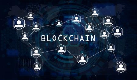 ブロックチェーンネットワークコンセプト、世界地図ベクトル背景イラスト、コンピュータの背景を持つグローバル抽象暗号通貨ネットワーク、および碑文ブロックチェーン 写真素材 - 102393357