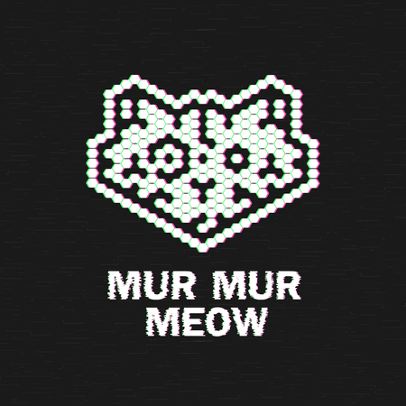 Cat Logo. Glitch logotype. Test Screen Glitch
