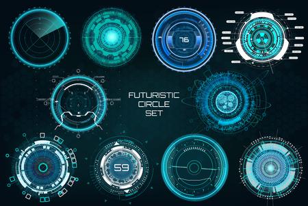 Círculos futuristas, conjunto de elementos a todo color. Interfaces de ciencia ficción de HUD (paneles de cabina, circulares, tableros de control, punto de mira, radar) Elementos de tecnología moderna Interfaz de usuario de HUD. Conjunto de interfaces de ciencia ficción de colores completos vectoriales