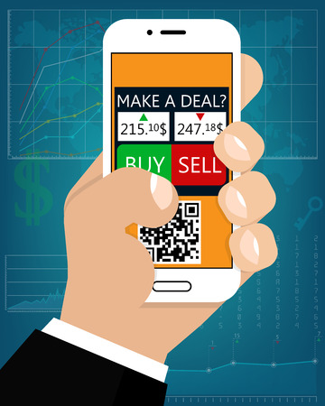 Mobile Foreign Exchange Trading, Flat Style. The Hand Holds The Phone With The Deal Online. (Bitcoin Deal, Stock Exchange, Cryptocurrency, Business and Investment, Trading Forex) Cartoon, Flat Style Illustration