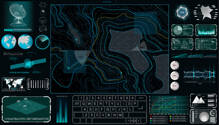 Command Center Screen in HUD style. Topographic Map, Contour. Futuristic Interface Elements and Earth Landscape Scanning. Concept of a Conditional Geography Scheme in HUD Style. Vector Elements Set Çizim