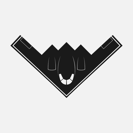 Stealth Bomber B-2. Bomber Aircraft Jet. Black B-2 stealth, Spirit. Logo For u Web Site, Brand and App. Vector illustration Logoty