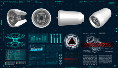 Jet Engine 3d. Scanning in HUD Style. Vector Drawing With Circles and Geometric Parts of The Mechanisms. Engineering in HUD Style Jet Engine in HUD Style. Industrial Aerospase Blueprint. 3d models