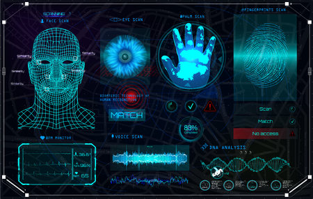 Recognition Biometric Technology and Artificial Intelligence Concept! HUD UI Identification Interface. Elements scanning: Fingerprints, Eye, Voice, Palm and Face. Color Full in HUD Style. Set Elements Banque d'images - 103987848