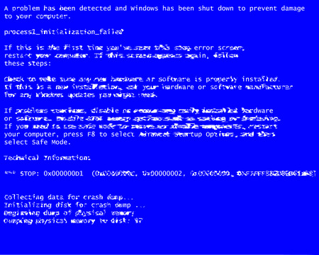 Glitch errors classic blue screen of death (BSOD). Driver and memory error, incompatible device, problem with software and hardware. Reference information about the system failure. Vector illustration Illustration
