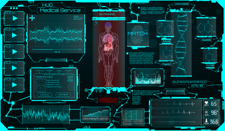 Hud Ui Elements Medical Science, a Virtual Graphic Touch Interface With Illustrations of Human Scanning and the Update of His Illnesses. HUD, Sci, Medical Interface, Data, Infographic and DNA Formula