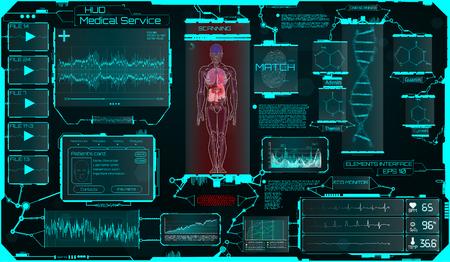 Hud Ui Elements Medical Science, una interfaz táctil gráfica virtual con ilustraciones del escaneo humano y la actualización de sus enfermedades. HUD, ciencia, interfaz médica, datos, infografía y fórmula de ADN