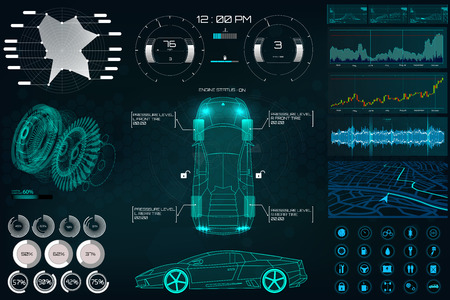 Car service in the style of HUD, Cars infographic ui, analysis and diagnostics in the hud style, futuristic user interface, repairs cars, Car auto service, mechanisms cars, car service HUD. dashboard Stock Illustratie