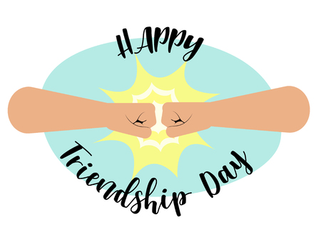 Fist bump, Happy Friendship Day concept with masculine fraternal greeting. vector illustration, fist bump and inscription